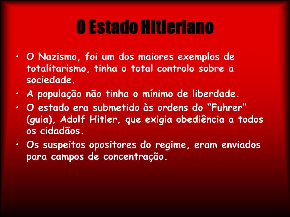 O Estado Hitleriano O Nazismo, foi um dos maiores exemplos de totalitarismo, tinha o total controlo sobre a sociedade. A população não tinha o mínimo