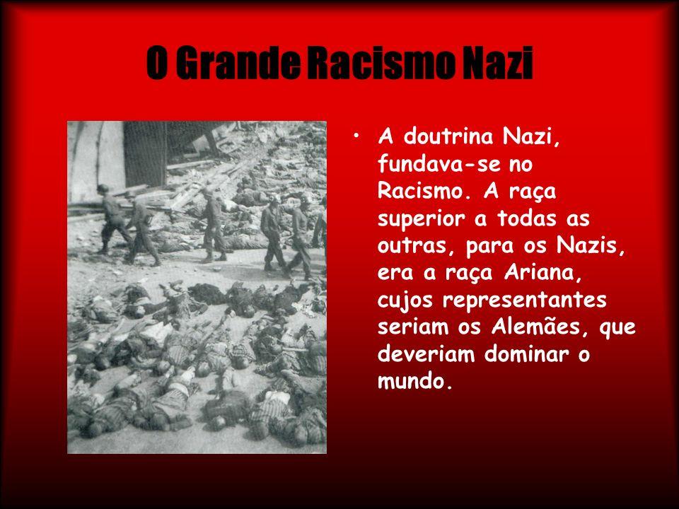 O Grande Racismo Nazi A doutrina Nazi, fundava-se no Racismo. A raça superior a todas as outras, para os Nazis, era a raça Ariana, cujos representante