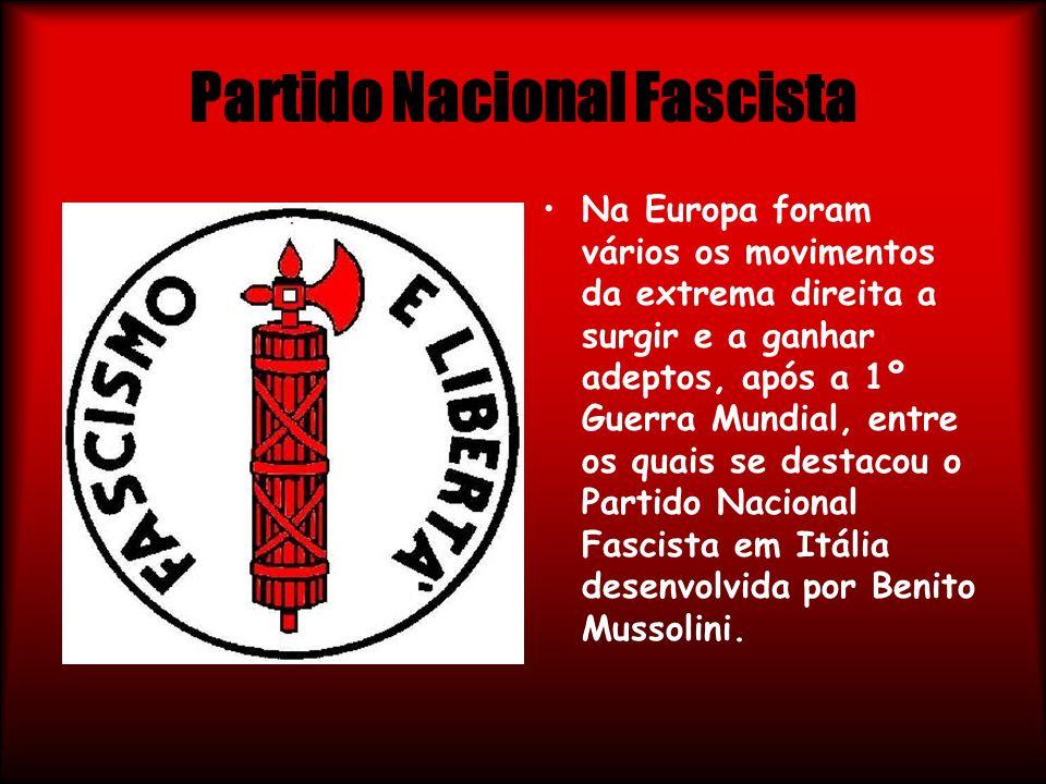 Partido Nacional Fascista Na Europa foram vários os movimentos da extrema direita a surgir e a ganhar adeptos, após a 1º Guerra Mundial, entre os quai