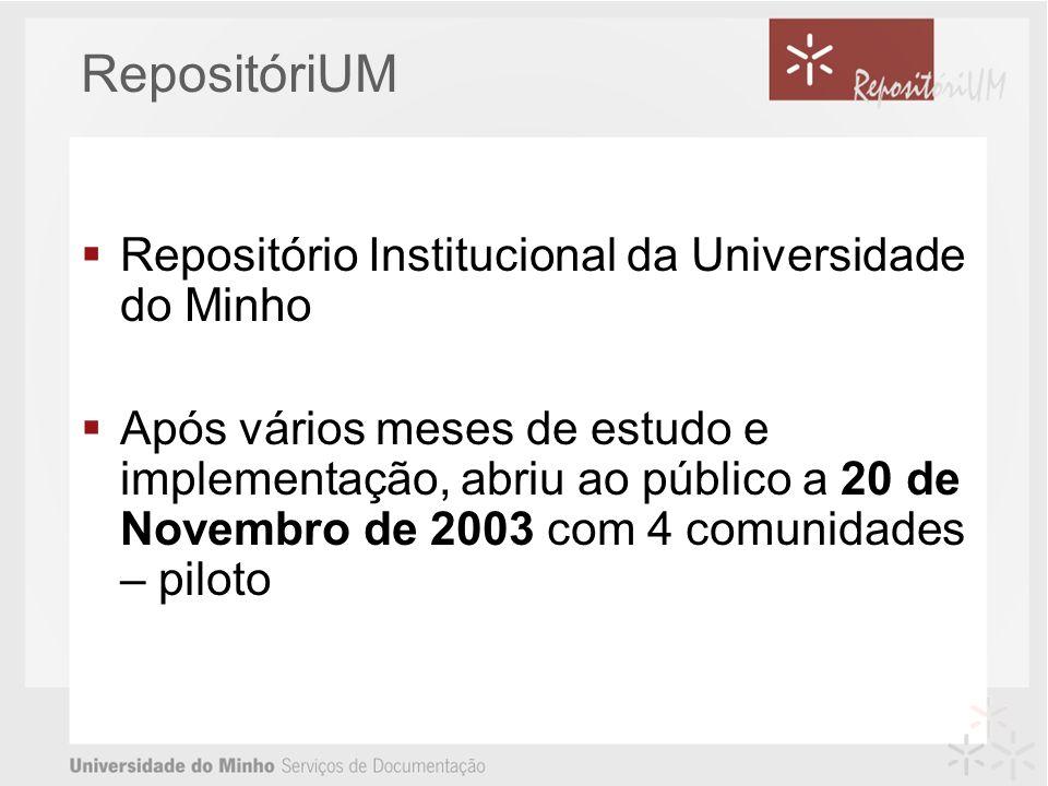 RepositóriUM Repositório Institucional da Universidade do Minho Após vários meses de estudo e implementação, abriu ao público a 20 de Novembro de 2003 com 4 comunidades – piloto