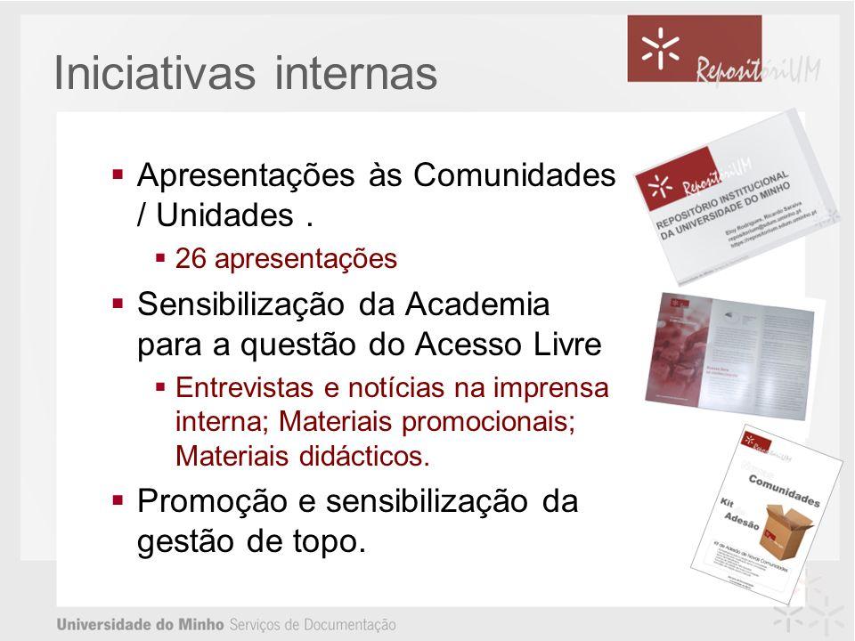 Iniciativas internas Apresentações às Comunidades / Unidades.