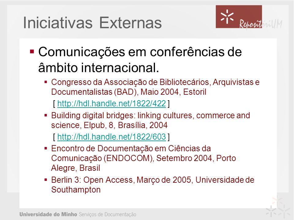 Comunicações em conferências de âmbito internacional.