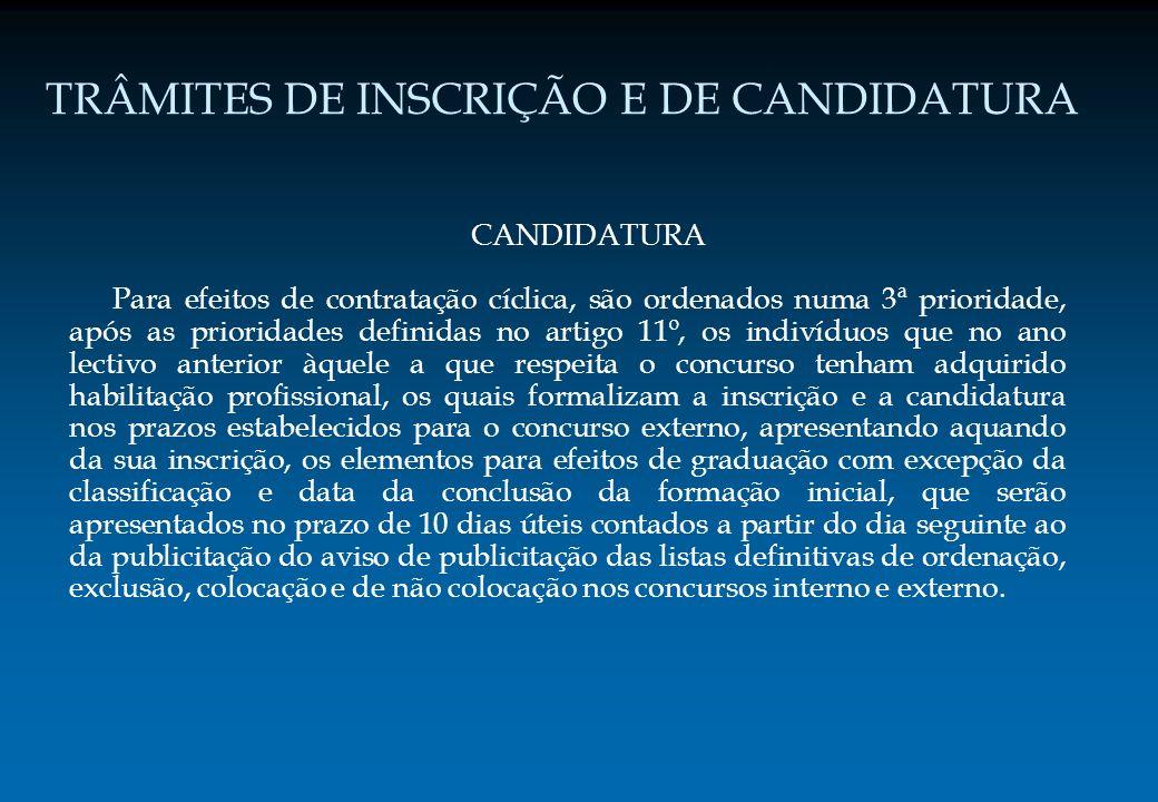 TRÂMITES DE INSCRIÇÃO E DE CANDIDATURA CANDIDATURA Para efeitos de contratação cíclica, são ordenados numa 3ª prioridade, após as prioridades definida