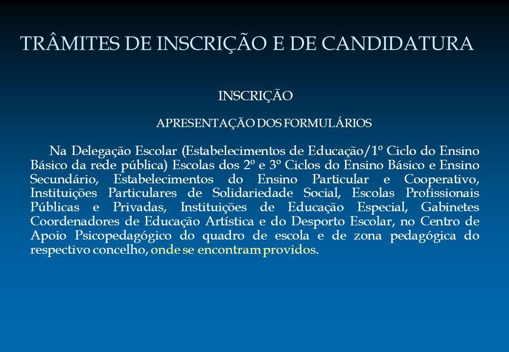 TRÂMITES DE INSCRIÇÃO E DE CANDIDATURA INSCRIÇÃO APRESENTAÇÃO DOS FORMULÁRIOS Na Delegação Escolar (Estabelecimentos de Educação/1º Ciclo do Ensino Bá