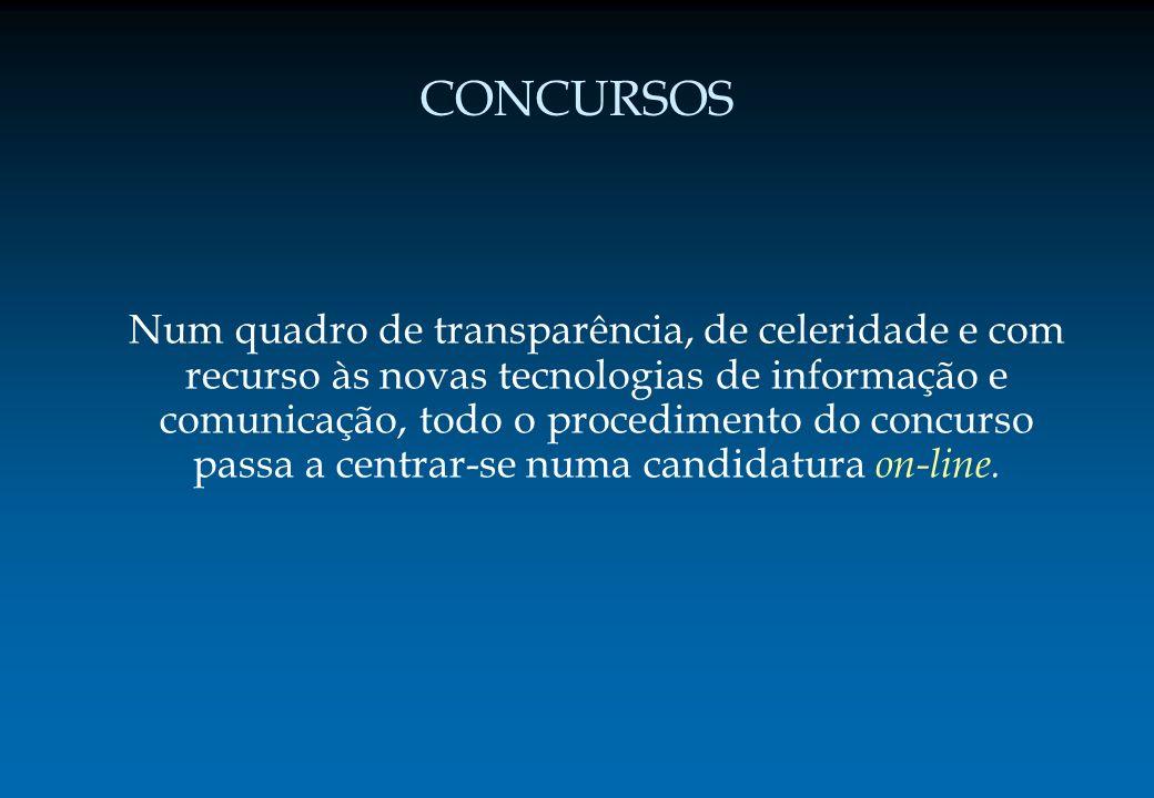 CONCURSOS Num quadro de transparência, de celeridade e com recurso às novas tecnologias de informação e comunicação, todo o procedimento do concurso p