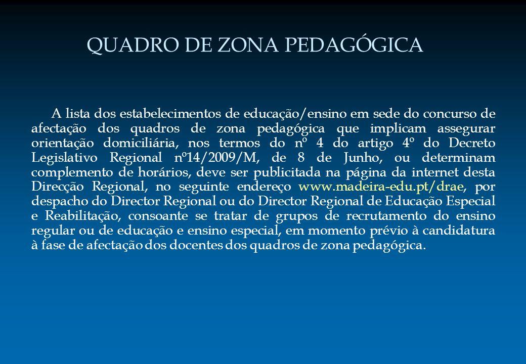 QUADRO DE ZONA PEDAGÓGICA A lista dos estabelecimentos de educação/ensino em sede do concurso de afectação dos quadros de zona pedagógica que implicam