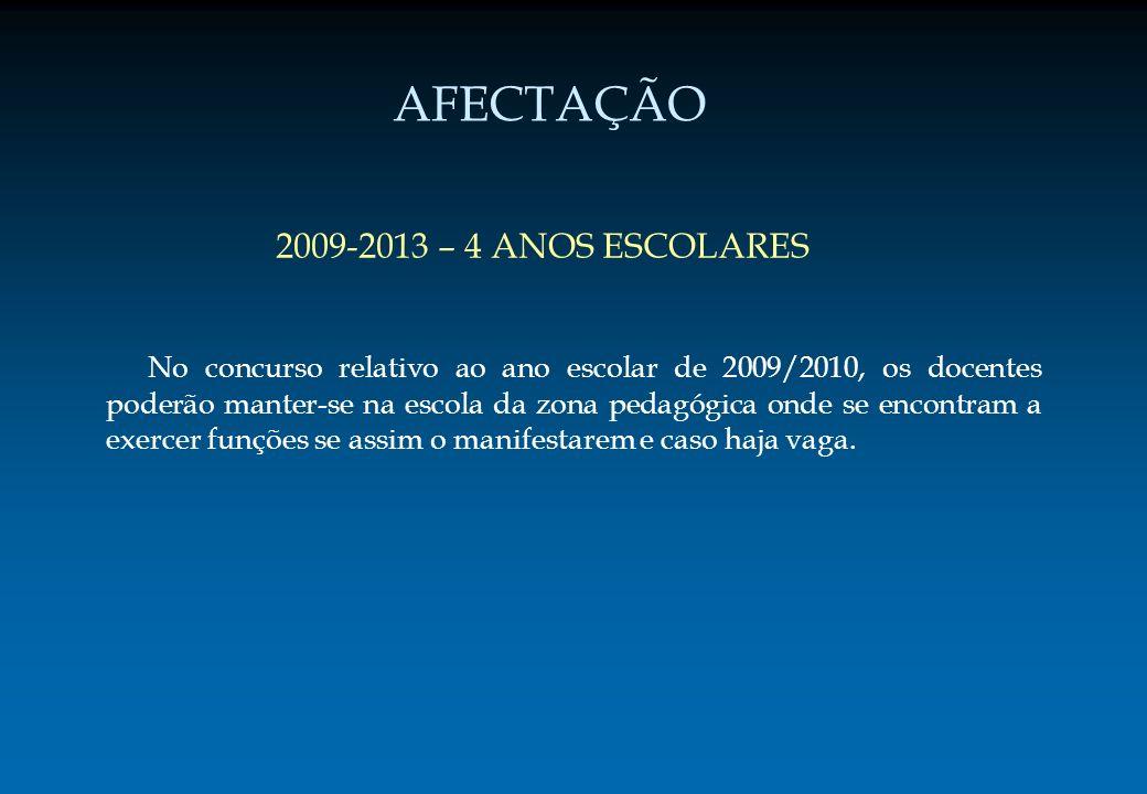 AFECTAÇÃO 2009-2013 – 4 ANOS ESCOLARES No concurso relativo ao ano escolar de 2009/2010, os docentes poderão manter-se na escola da zona pedagógica on
