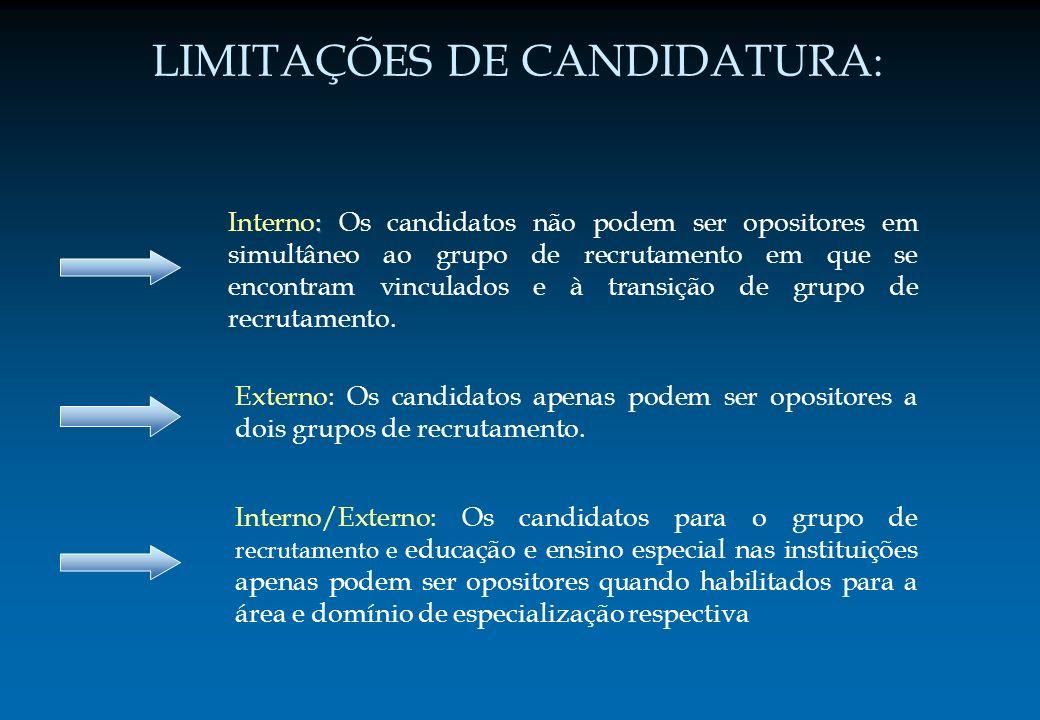 LIMITAÇÕES DE CANDIDATURA : : Interno: Os candidatos não podem ser opositores em simultâneo ao grupo de recrutamento em que se encontram vinculados e
