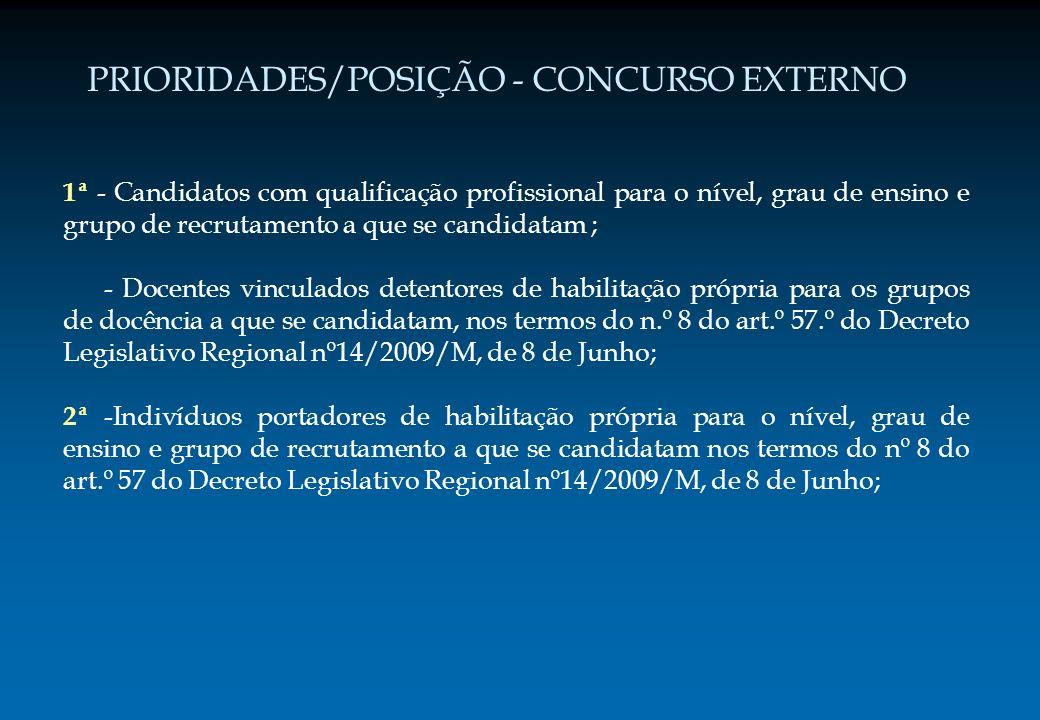 PRIORIDADES/POSIÇÃO - CONCURSO EXTERNO 1ª - Candidatos com qualificação profissional para o nível, grau de ensino e grupo de recrutamento a que se can
