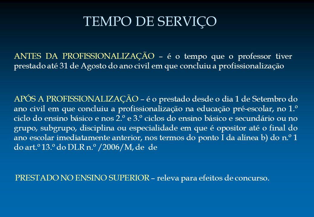 ANTES DA PROFISSIONALIZAÇÃO – é o tempo que o professor tiver prestado até 31 de Agosto do ano civil em que concluiu a profissionalização APÓS A PROFI