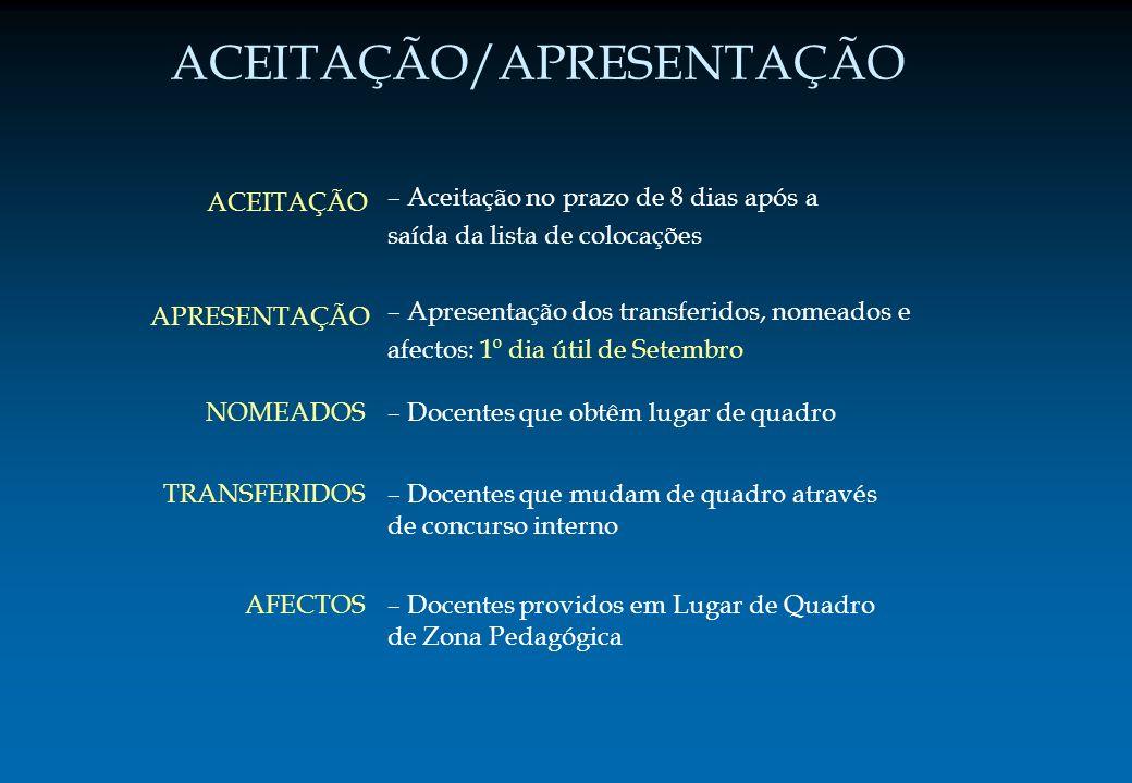– Apresentação dos transferidos, nomeados e afectos: 1º dia útil de Setembro – Docentes que obtêm lugar de quadro – Docentes que mudam de quadro atrav
