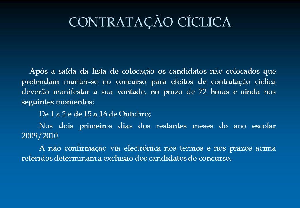 CONTRATAÇÃO CÍCLICA Após a saída da lista de colocação os candidatos não colocados que pretendam manter-se no concurso para efeitos de contratação cíc