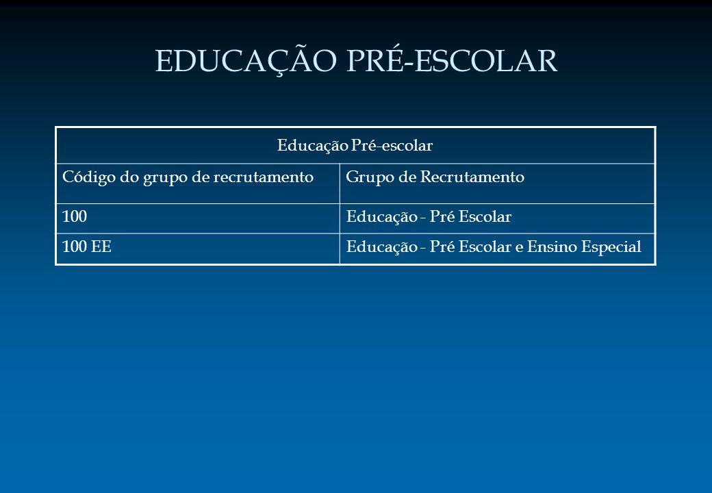 EDUCAÇÃO PRÉ-ESCOLAR Educação Pré-escolar Código do grupo de recrutamentoGrupo de Recrutamento 100Educação - Pré Escolar 100 EEEducação - Pré Escolar