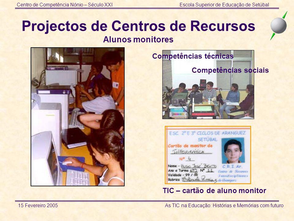 Centro de Competência Nónio – Século XXIEscola Superior de Educação de Setúbal 15 Fevereiro 2005 As TIC na Educação: Histórias e Memórias com futuro P