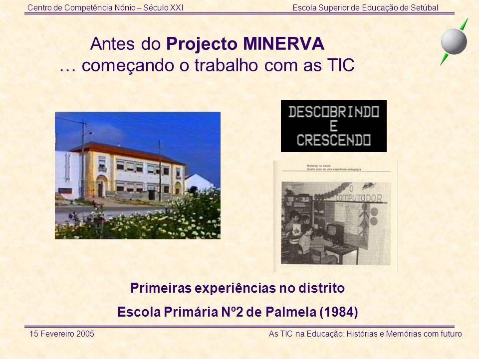 Centro de Competência Nónio – Século XXIEscola Superior de Educação de Setúbal 15 Fevereiro 2005 As TIC na Educação: Histórias e Memórias com futuro Contexto Trabalho de Projecto Trabalho de campo (visitas de estudo) Tratamento de informação