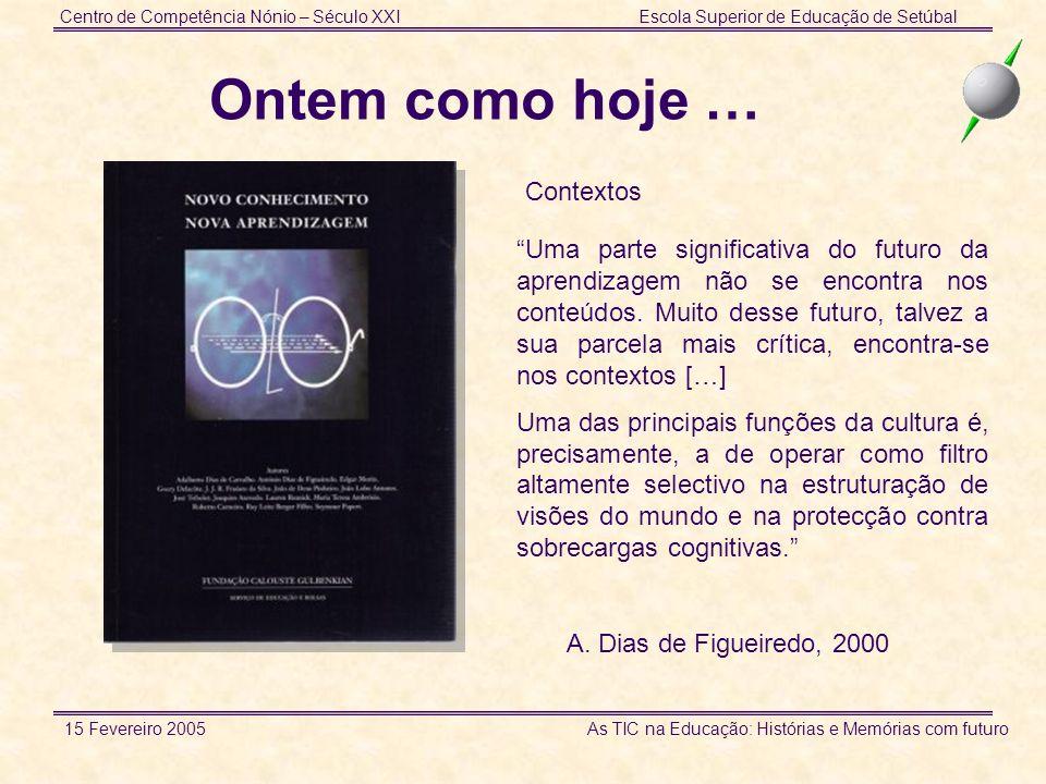 Centro de Competência Nónio – Século XXIEscola Superior de Educação de Setúbal 15 Fevereiro 2005 As TIC na Educação: Histórias e Memórias com futuro O