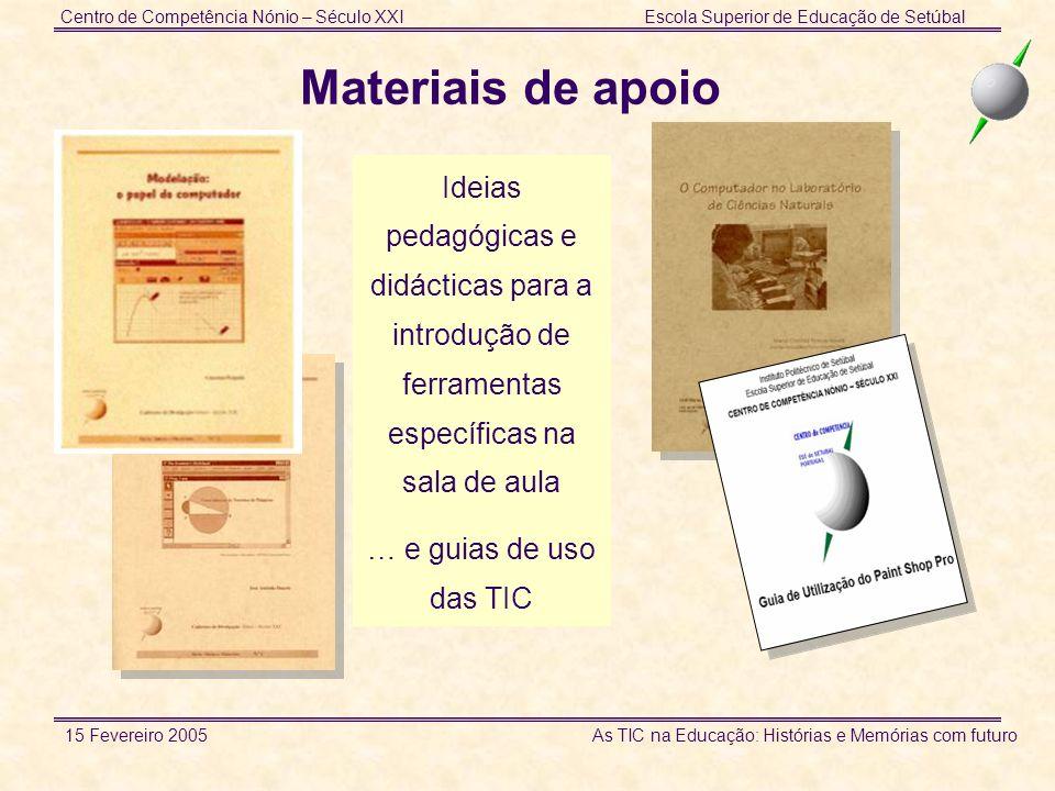 Centro de Competência Nónio – Século XXIEscola Superior de Educação de Setúbal 15 Fevereiro 2005 As TIC na Educação: Histórias e Memórias com futuro I