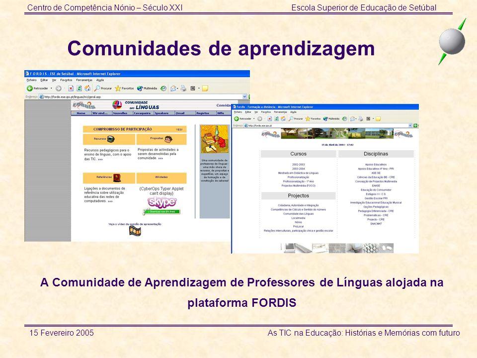 Centro de Competência Nónio – Século XXIEscola Superior de Educação de Setúbal 15 Fevereiro 2005 As TIC na Educação: Histórias e Memórias com futuro C