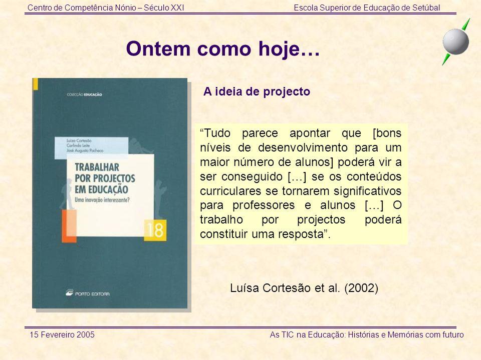Centro de Competência Nónio – Século XXIEscola Superior de Educação de Setúbal 15 Fevereiro 2005 As TIC na Educação: Histórias e Memórias com futuro www.ese.ips.pt/nonio/