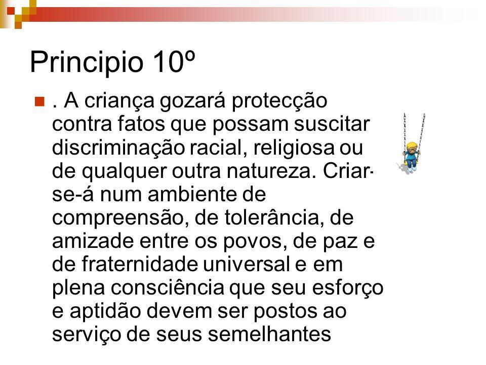 Principio 10º. A criança gozará protecção contra fatos que possam suscitar discriminação racial, religiosa ou de qualquer outra natureza. Criar- se-á
