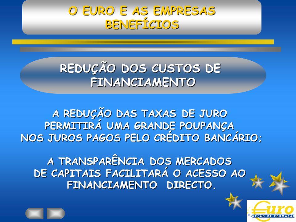 O EURO E AS EMPRESAS BENEFÍCIOS REDUÇÃO DOS CUSTOS DE FINANCIAMENTO A REDUÇÃO DAS TAXAS DE JURO PERMITIRÁ UMA GRANDE POUPANÇA NOS JUROS PAGOS PELO CRÉDITO BANCÁRIO; A TRANSPARÊNCIA DOS MERCADOS DE CAPITAIS FACILITARÁ O ACESSO AO FINANCIAMENTO DIRECTO.