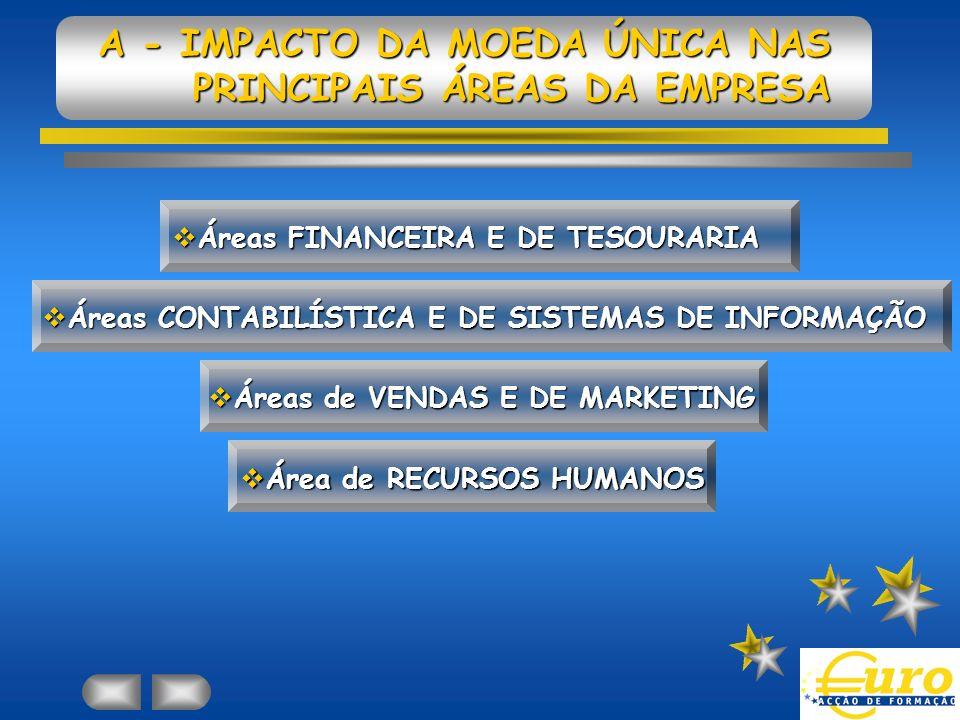 A - IMPACTO DA MOEDA ÚNICA NAS PRINCIPAIS ÁREAS DA EMPRESA Áreas FINANCEIRA E DE TESOURARIA Áreas FINANCEIRA E DE TESOURARIA Áreas CONTABILÍSTICA E DE SISTEMAS DE INFORMAÇÃO Áreas CONTABILÍSTICA E DE SISTEMAS DE INFORMAÇÃO Áreas de VENDAS E DE MARKETING Áreas de VENDAS E DE MARKETING Área de RECURSOS HUMANOS Área de RECURSOS HUMANOS