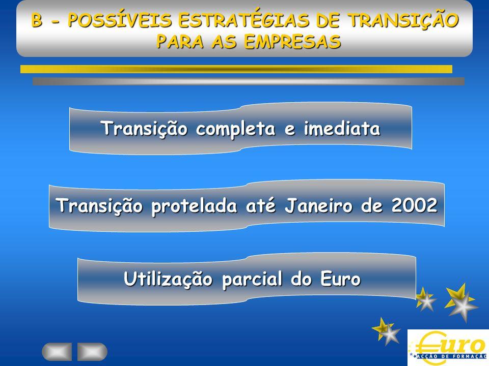 B - POSSÍVEIS ESTRATÉGIAS DE TRANSIÇÃO PARA AS EMPRESAS Transição completa e imediata Transição protelada até Janeiro de 2002 Utilização parcial do Euro