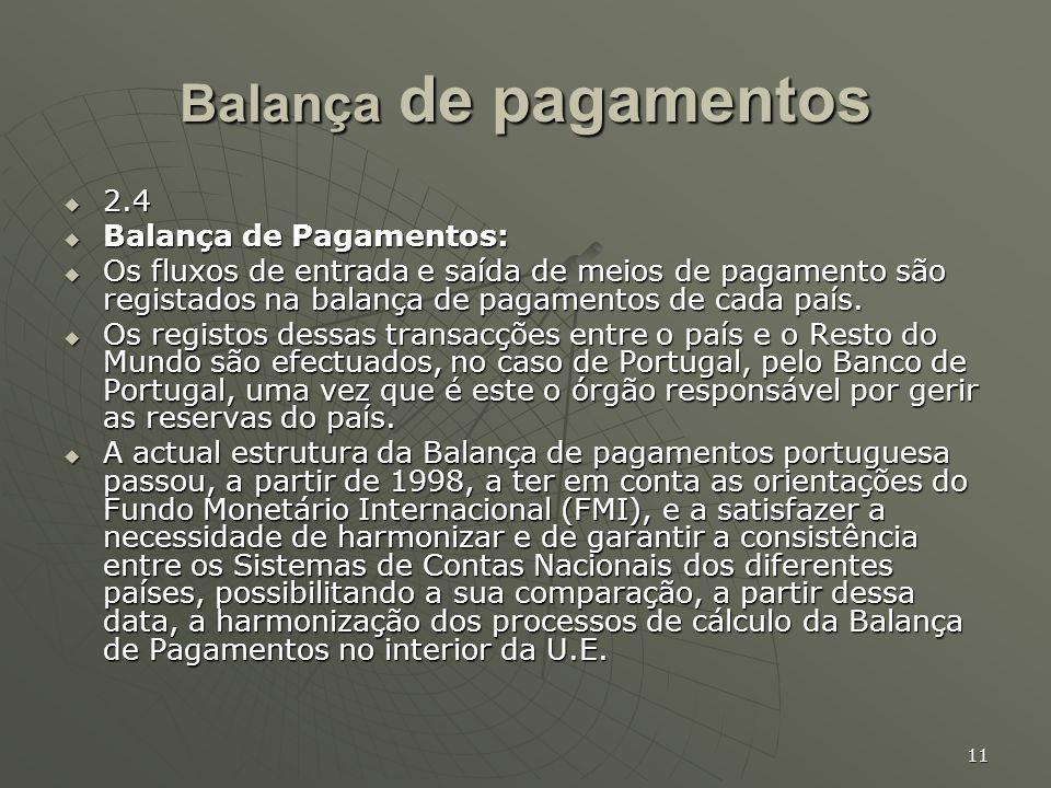 11 Balança de pagamentos 2.4 2.4 Balança de Pagamentos: Balança de Pagamentos: Os fluxos de entrada e saída de meios de pagamento são registados na ba