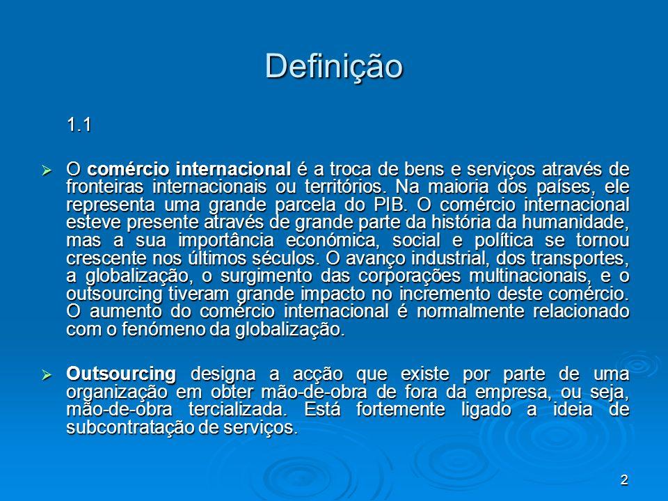 2 Definição 1.1 O comércio internacional é a troca de bens e serviços através de fronteiras internacionais ou territórios. Na maioria dos países, ele