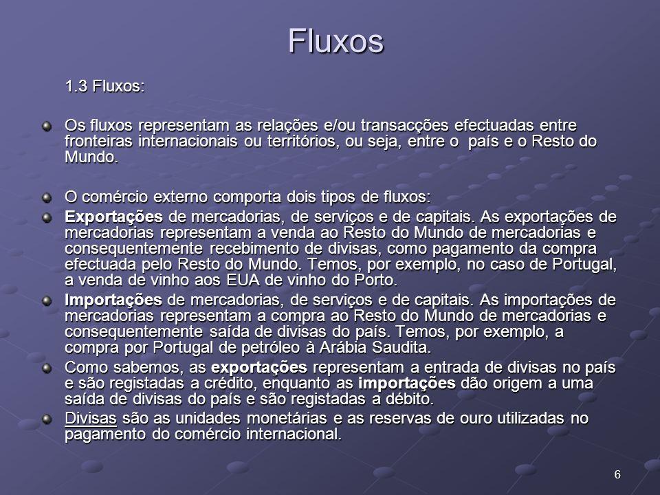 6 Fluxos Fluxos 1.3 Fluxos: Os fluxos representam as relações e/ou transacções efectuadas entre fronteiras internacionais ou territórios, ou seja, ent