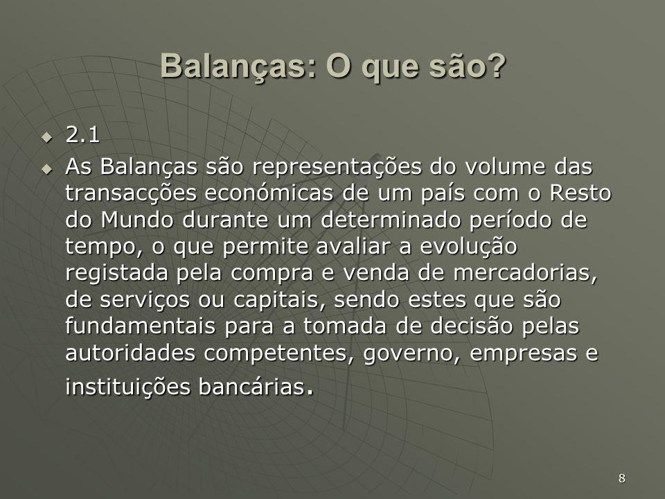 8 Balanças: O que são? 2.1 2.1 As Balanças são representações do volume das transacções económicas de um país com o Resto do Mundo durante um determin