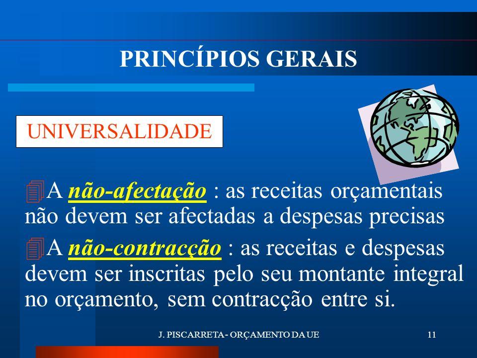 J. PISCARRETA - ORÇAMENTO DA UE10 ESPECIFICAÇÃO 4 Cada dotação deve ter um destino determinado e ser afectada a um objectivo específico. 4 Estrutura d