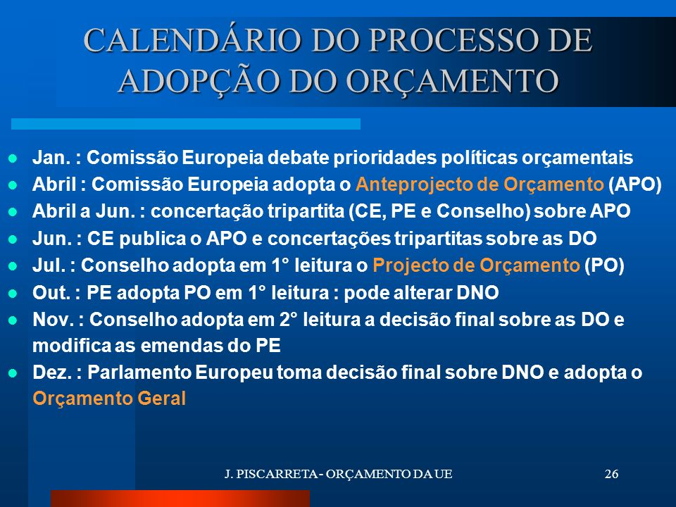 J. PISCARRETA - ORÇAMENTO DA UE25 ACTORES DO PROCESSO COMISSÃO EUROPEIA CONSELHO DA UEPARLAMENTO EUROPEU COMISSÃO PARLAMENTAR DOS ORÇAMENTOS PLENÁRIO