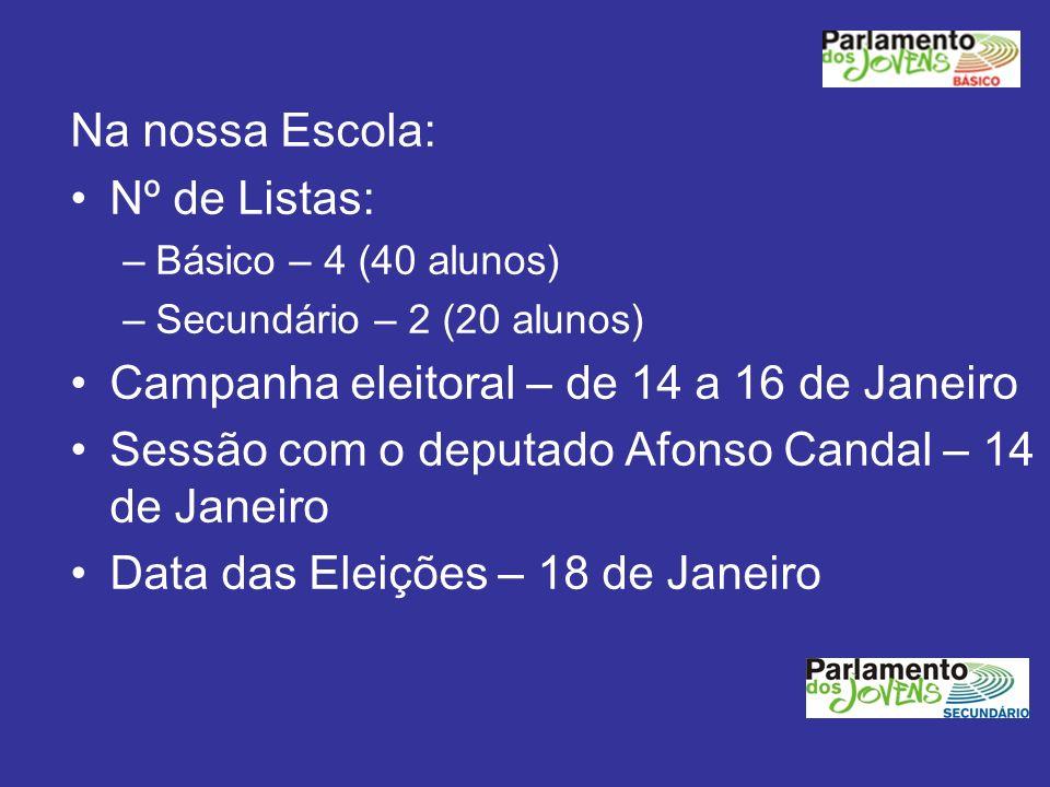 Na nossa Escola: Nº de Listas: –Básico – 4 (40 alunos) –Secundário – 2 (20 alunos) Campanha eleitoral – de 14 a 16 de Janeiro Sessão com o deputado Af