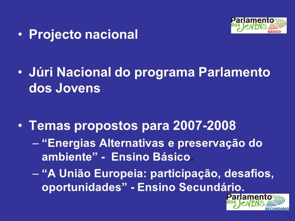 Projecto nacional Júri Nacional do programa Parlamento dos Jovens Temas propostos para 2007-2008 –Energias Alternativas e preservação do ambiente - En