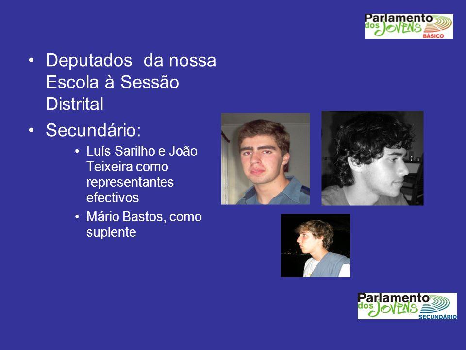 Deputados da nossa Escola à Sessão Distrital Secundário: Luís Sarilho e João Teixeira como representantes efectivos Mário Bastos, como suplente