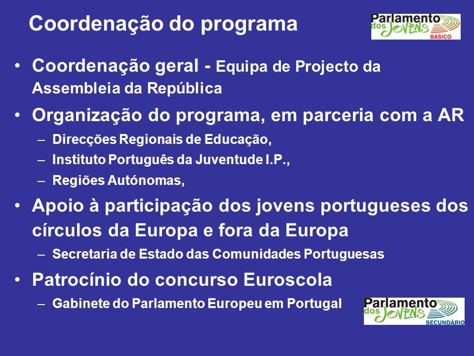 Coordenação do programa Coordenação geral - Equipa de Projecto da Assembleia da República Organização do programa, em parceria com a AR –Direcções Reg