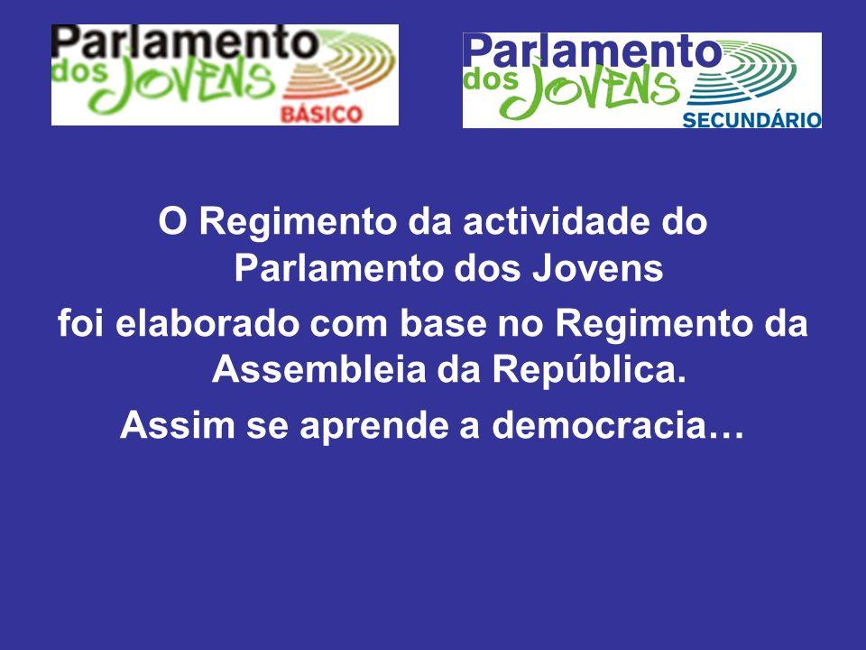 O Regimento da actividade do Parlamento dos Jovens foi elaborado com base no Regimento da Assembleia da República. Assim se aprende a democracia…