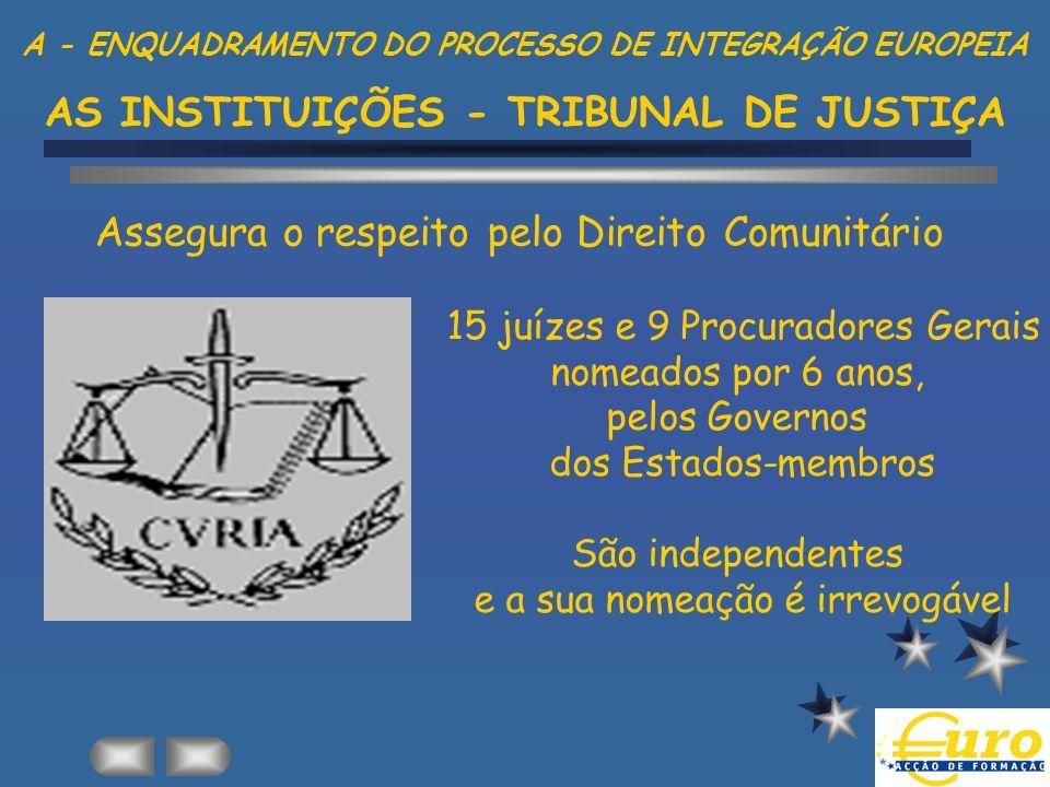 15 juízes e 9 Procuradores Gerais nomeados por 6 anos, pelos Governos dos Estados-membros São independentes e a sua nomeação é irrevogável Assegura o