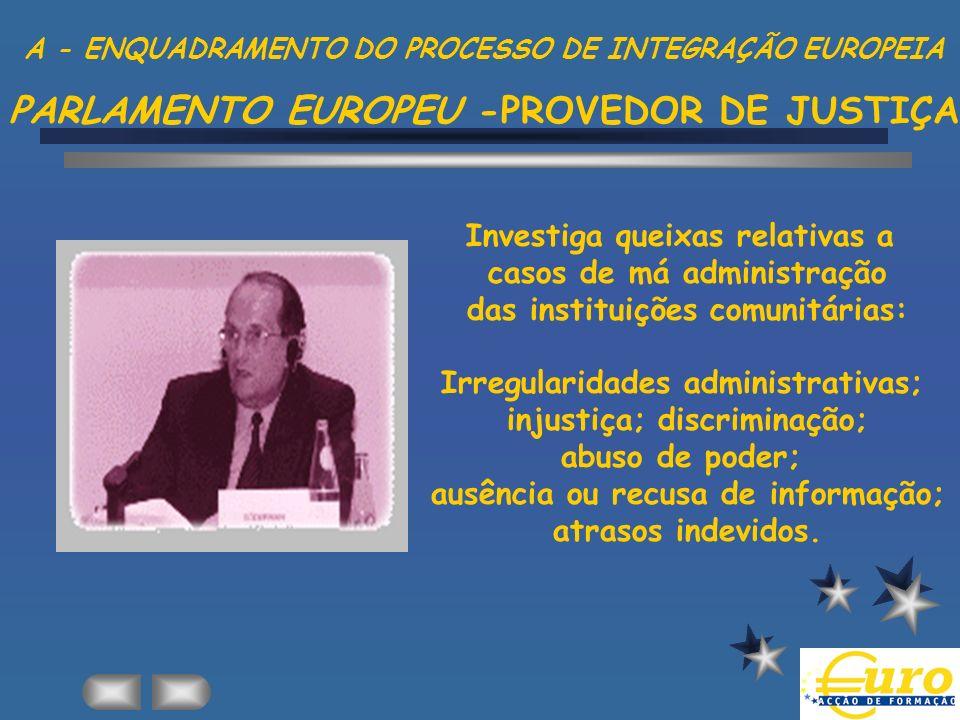 Investiga queixas relativas a casos de má administração das instituições comunitárias: Irregularidades administrativas; injustiça; discriminação; abus