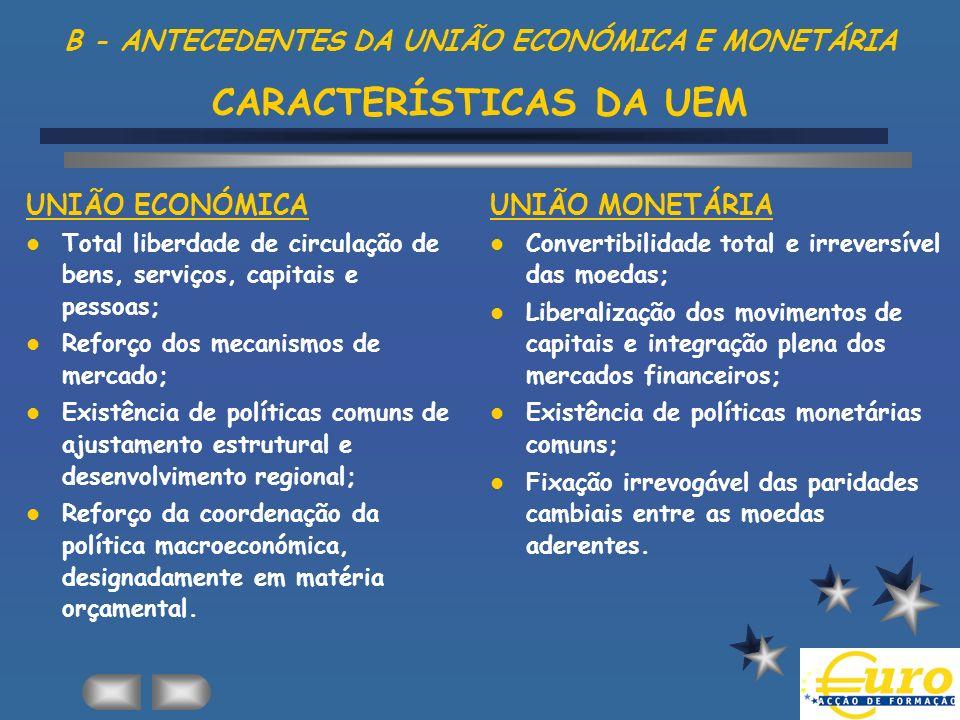 B - ANTECEDENTES DA UNIÃO ECONÓMICA E MONETÁRIA CARACTERÍSTICAS DA UEM UNIÃO ECONÓMICA Total liberdade de circulação de bens, serviços, capitais e pes