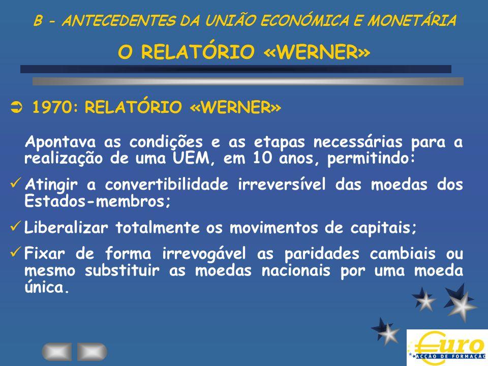 B - ANTECEDENTES DA UNIÃO ECONÓMICA E MONETÁRIA O RELATÓRIO «WERNER» 1970: RELATÓRIO «WERNER» Apontava as condições e as etapas necessárias para a rea