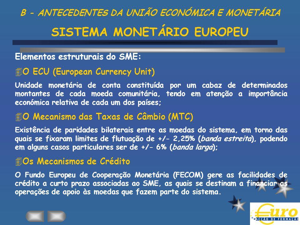 B - ANTECEDENTES DA UNIÃO ECONÓMICA E MONETÁRIA SISTEMA MONETÁRIO EUROPEU Elementos estruturais do SME: 4O ECU (European Currency Unit) Unidade monetá