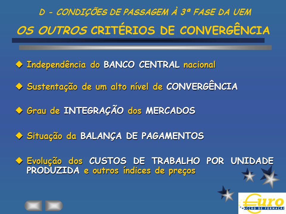 D - CONDIÇÕES DE PASSAGEM À 3ª FASE DA UEM OS OUTROS CRITÉRIOS DE CONVERGÊNCIA Independência do BANCO CENTRAL nacional Independência do BANCO CENTRAL