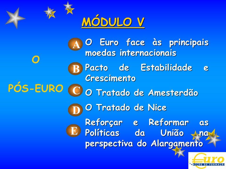 O Euro face às principais moedas internacionais Pacto de Estabilidade e Crescimento O Tratado de Amesterdão O Tratado de Nice Reforçar e Reformar as P