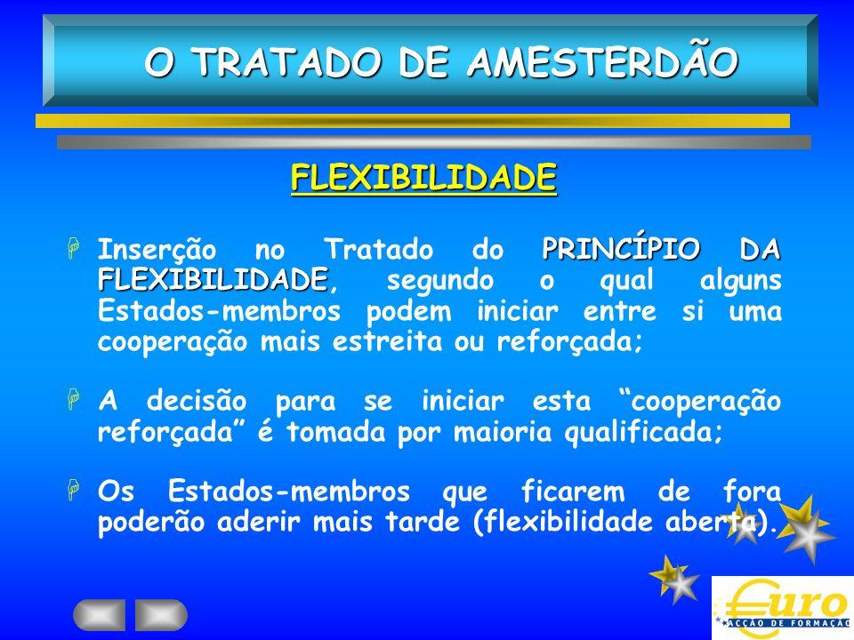 FLEXIBILIDADE PRINCÍPIO DA FLEXIBILIDADE HInserção no Tratado do PRINCÍPIO DA FLEXIBILIDADE, segundo o qual alguns Estados-membros podem iniciar entre