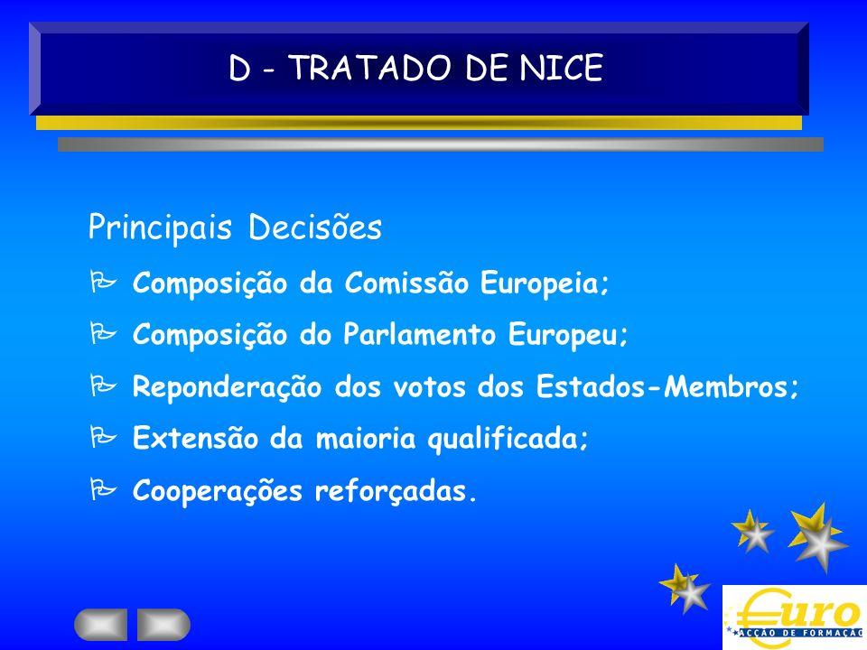D - TRATADO DE NICE Principais Decisões Composição da Comissão Europeia; Composição do Parlamento Europeu; Reponderação dos votos dos Estados-Membros;