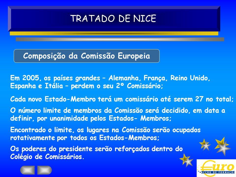 TRATADO DE NICE Composição da Comissão Europeia Em 2005, os países grandes – Alemanha, França, Reino Unido, Espanha e Itália – perdem o seu 2º Comissá