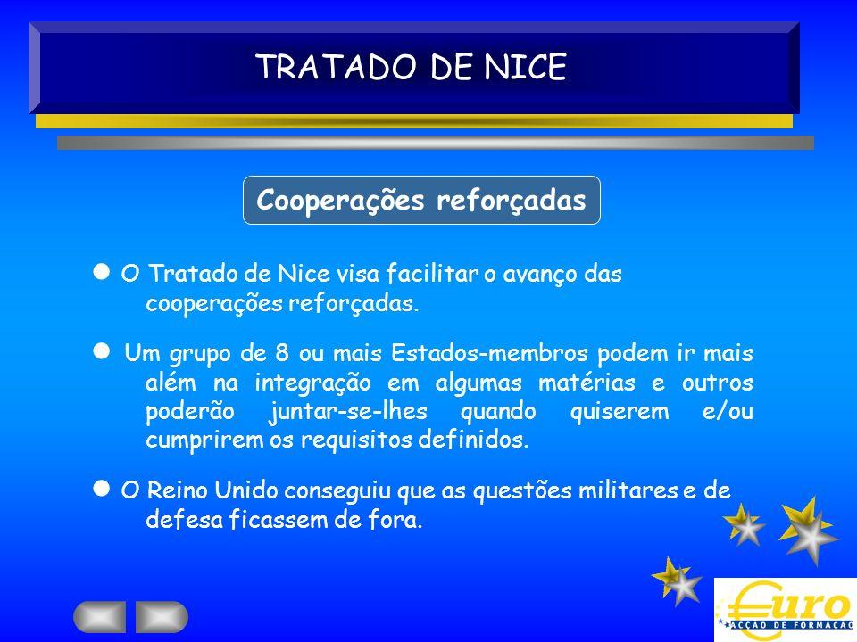 TRATADO DE NICE Cooperações reforçadas O Tratado de Nice visa facilitar o avanço das cooperações reforçadas. Um grupo de 8 ou mais Estados-membros pod