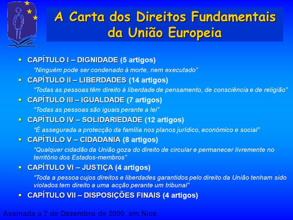 A Carta dos Direitos Fundamentais da União Europeia CAPÍTULO I – DIGNIDADE CAPÍTULO I – DIGNIDADE (5 artigos) Ninguém pode ser condenado à morte, nem